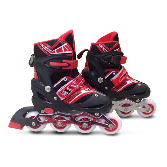 Patins-Roller-Ajustaveis-com-4-Rodas-e-Freio-Vermelho---Macro-30-AO-33